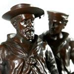 Load image into Gallery viewer, H.M.S. Excellent - A Pair of Naval Brigade Bronze Figures, 1900