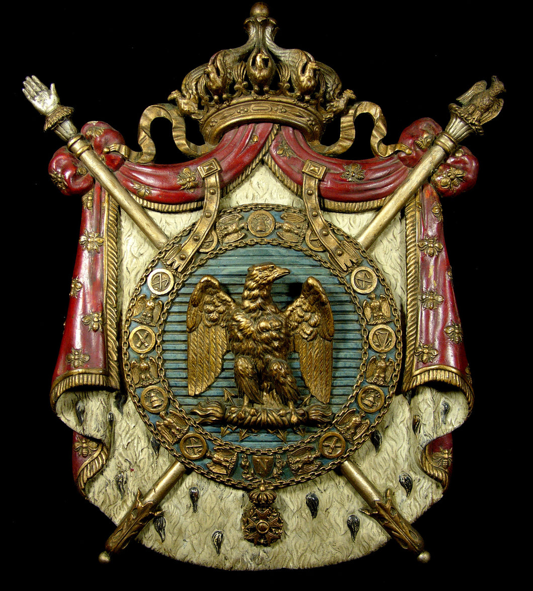 A 19th Century Polychrome and Gilt Wood Napoleonic Coat of Arms, Second Empire (1852-70)