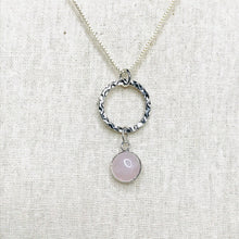 Load image into Gallery viewer, Polished rose quartz open bezel necklace