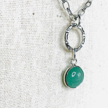 Load image into Gallery viewer, Polished green aventurine open bezel hoop necklace