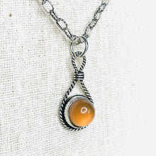 Load image into Gallery viewer, Polished carnelian twisted silver bezel necklace