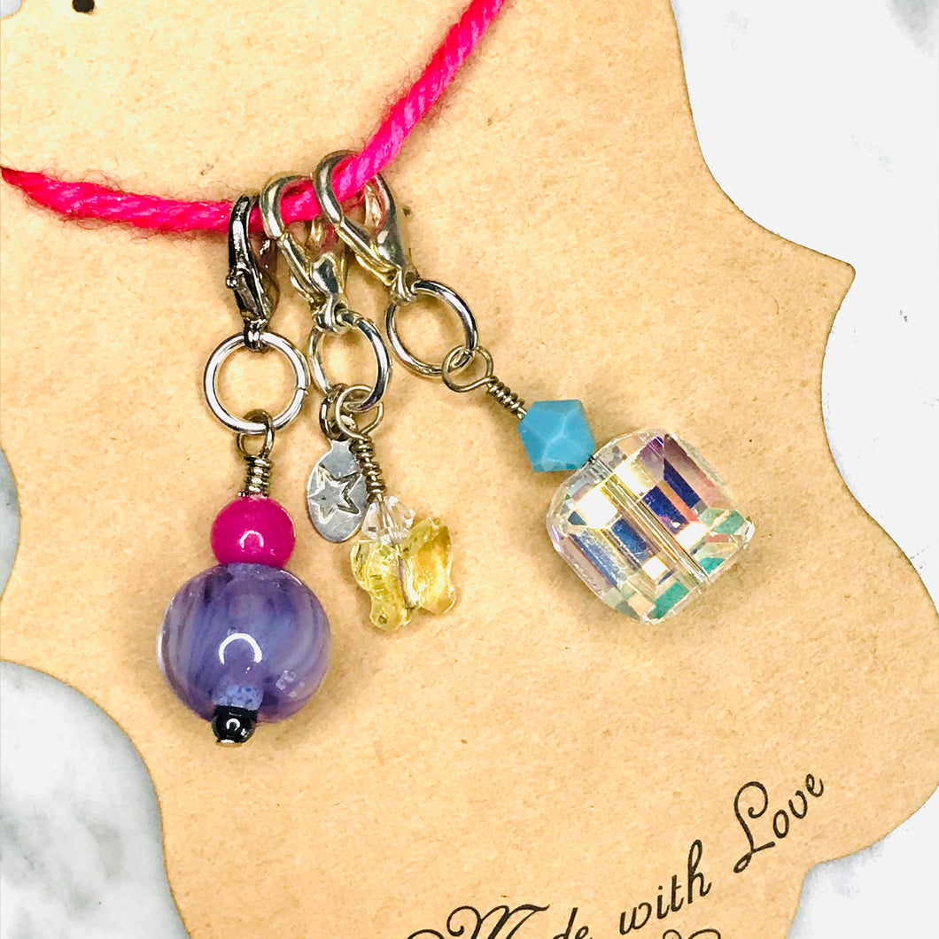 Artisan lampwork glass bead & Swarovski crystal progress keeper charms