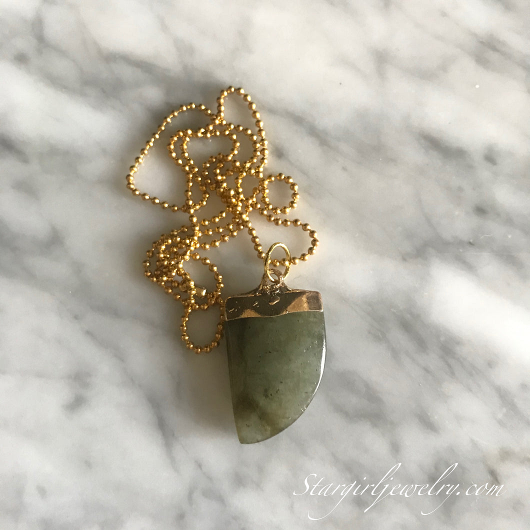 Gold electroplated Labradorite point necklace