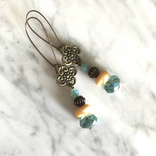 Load image into Gallery viewer, swarovski crystal, agate, copper metal work earrings