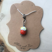 Load image into Gallery viewer, handmade lampwork glass cupcake bead charm miniatures progress keeper stitch marker cupcake bead knitter