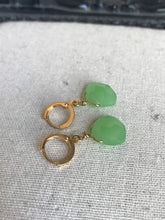 Load image into Gallery viewer, Faceted aventurine green quartz huggie good hoop earrings