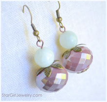 Load image into Gallery viewer, Pink cocoa with jade earrings