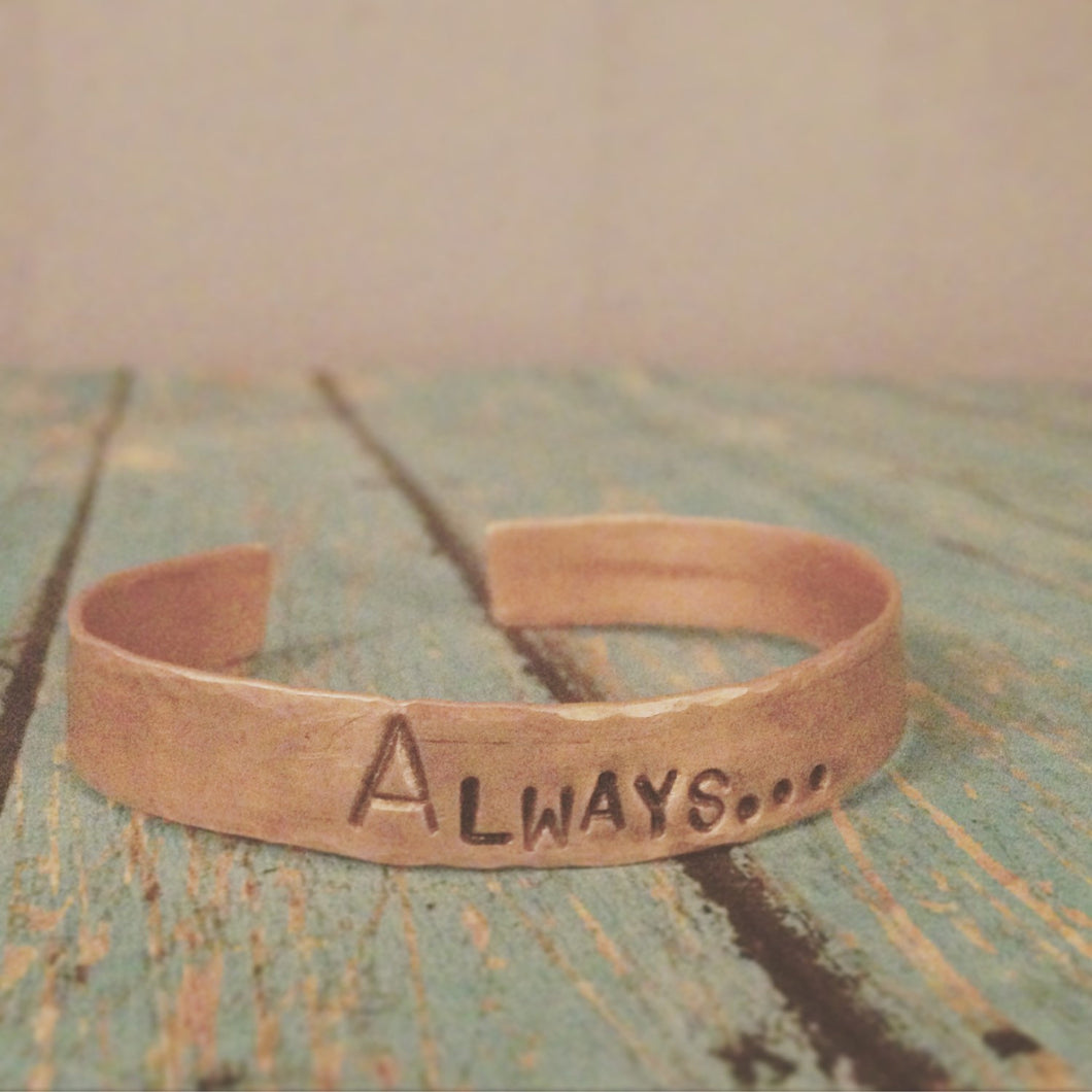 Always Harry potter copper cuff stamped metal bracelet