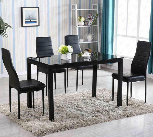 Modern 5 Piece Dining Room Kitchen Table Set 4 Chair Glass Top Black Misorami