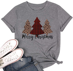 Merry Christmas Tree Print T-Shirt Women Leopard Plaid Casual Short Sleeve