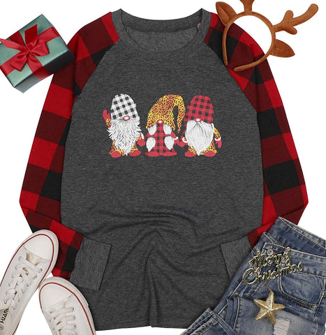 Christmas Plaid Shirt Women T-Shirt Gnomes Tee Splicing Baseball Tops Holiday Clothes