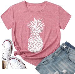 Pineapple T Shirts Womens' Tops Cute Graphic Tees Christmas Shirts Cotton Short Sleeve