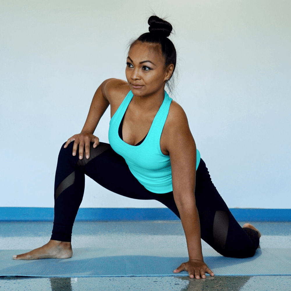 Inner thigh stretch during an Extensa flexibility routine