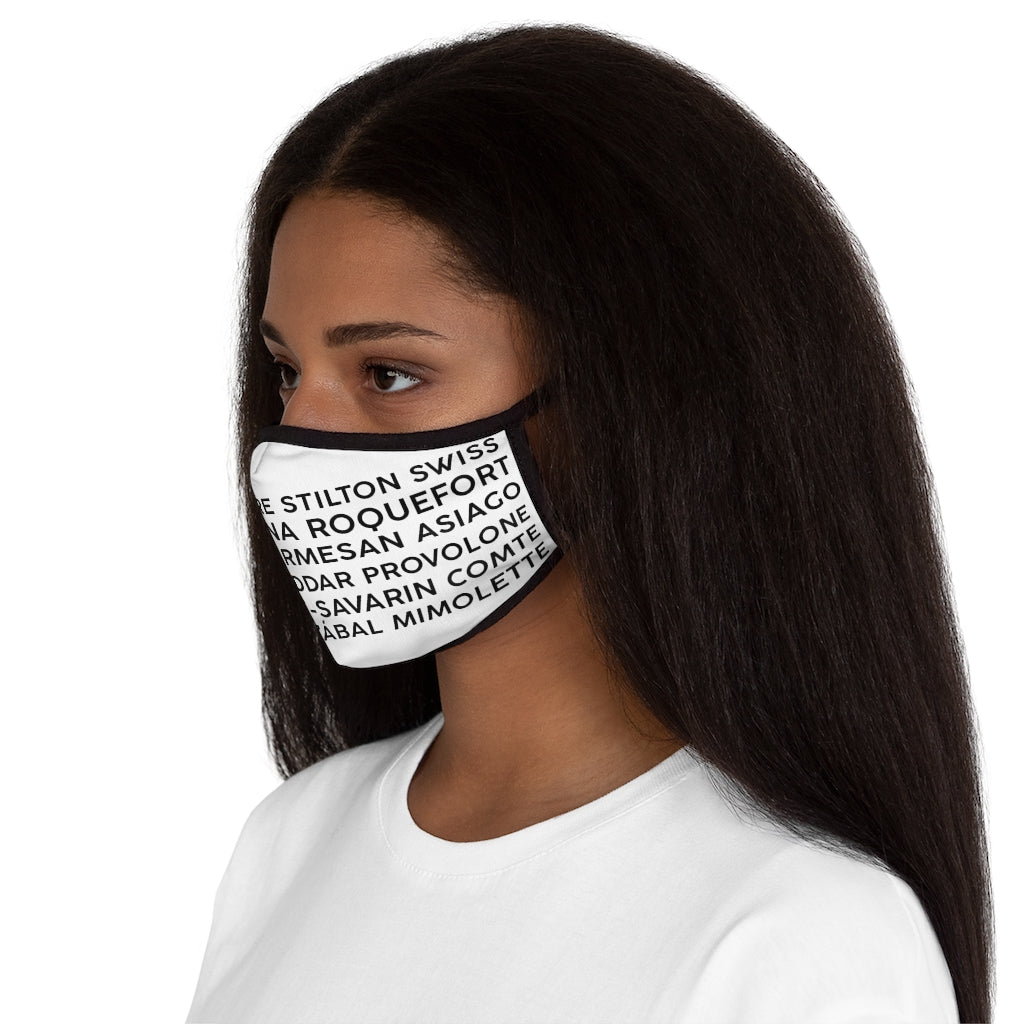 Cheese Words Fitted Polyester Face Mask