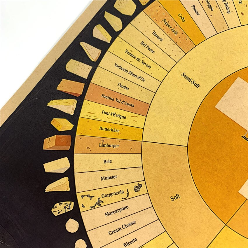 Educational Cheese Wheel Poster 51x36cm