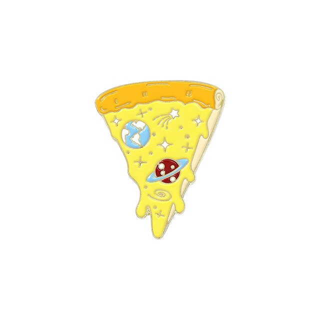 Space Pizza Enamel Lapel Pins Planet Cheese