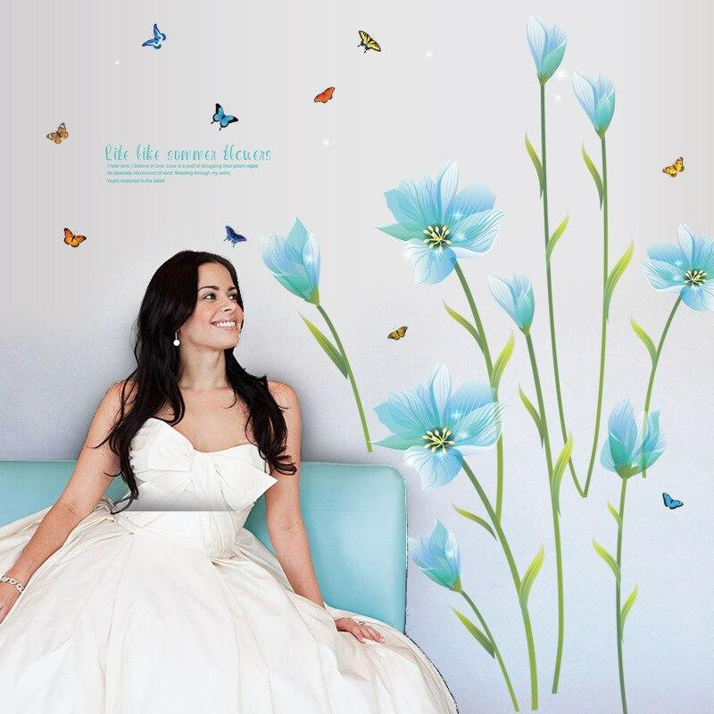 Blue lily flower Romantic weding bedroom wall sticker Entrance TV sofa background Decorative Wall Stickers SK9029