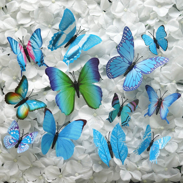 12 Pcs 3D Butterfly sangal lear Wall Stickers PVC Children Room Decal Home Decoration Decor