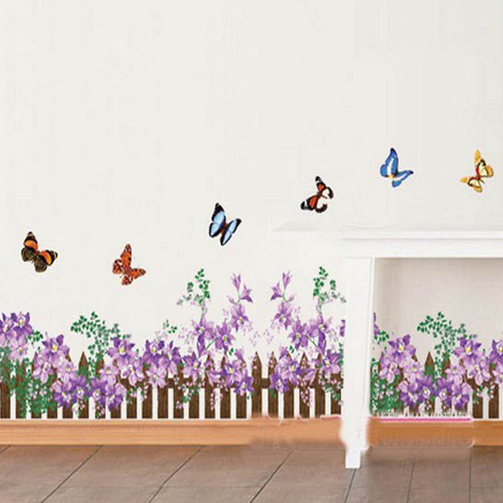 Ay872 Wall Stickers Wallsticker Hedge Purple Flower