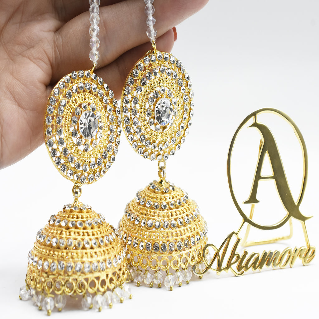 Women Indian Jhumka and Shara  Earrings Vintage Ethnic Hollow Tassel Bell Earrings For Women 2020