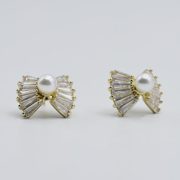 1 pair Trendy  New Cute Crystal Bow Fringed Pearl Earrings Bohemian Drop Earringsl Women Earrings Jewelry egfrprb5h-8