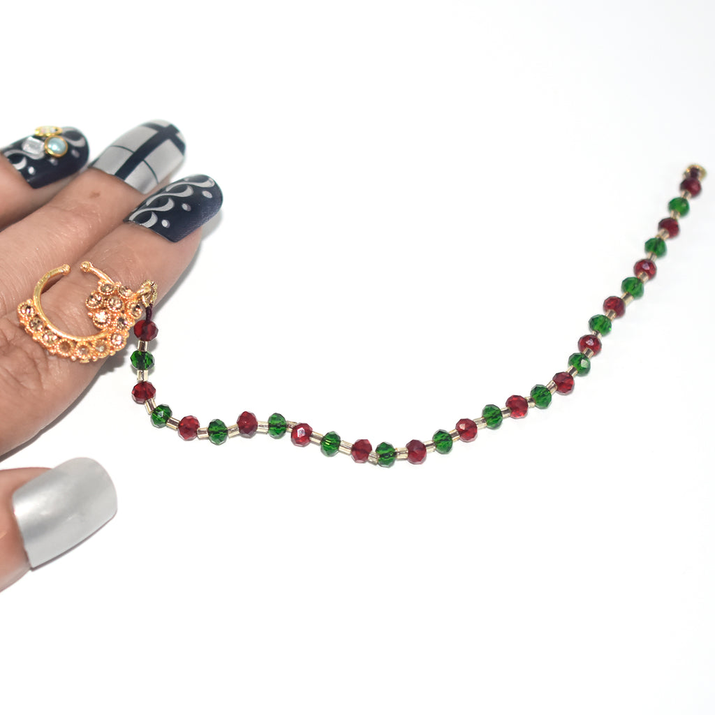 Flower Design with Red Green and shampion Stones Nath nhfrmga5h-7