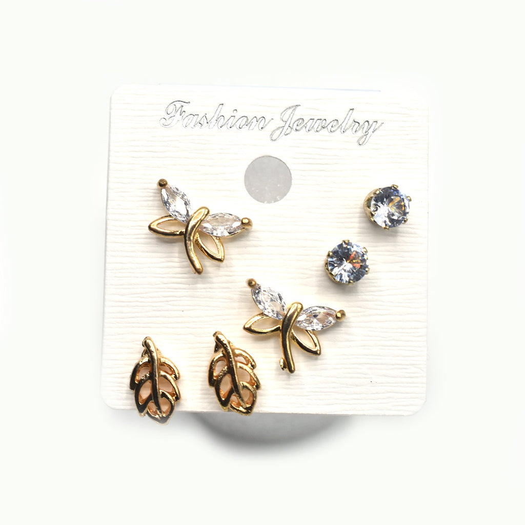 3 Pairs/Set Gold Stud Earrings  Geometric Earrings for Women Stylish Irregular Earrings egfrgdb5f-1