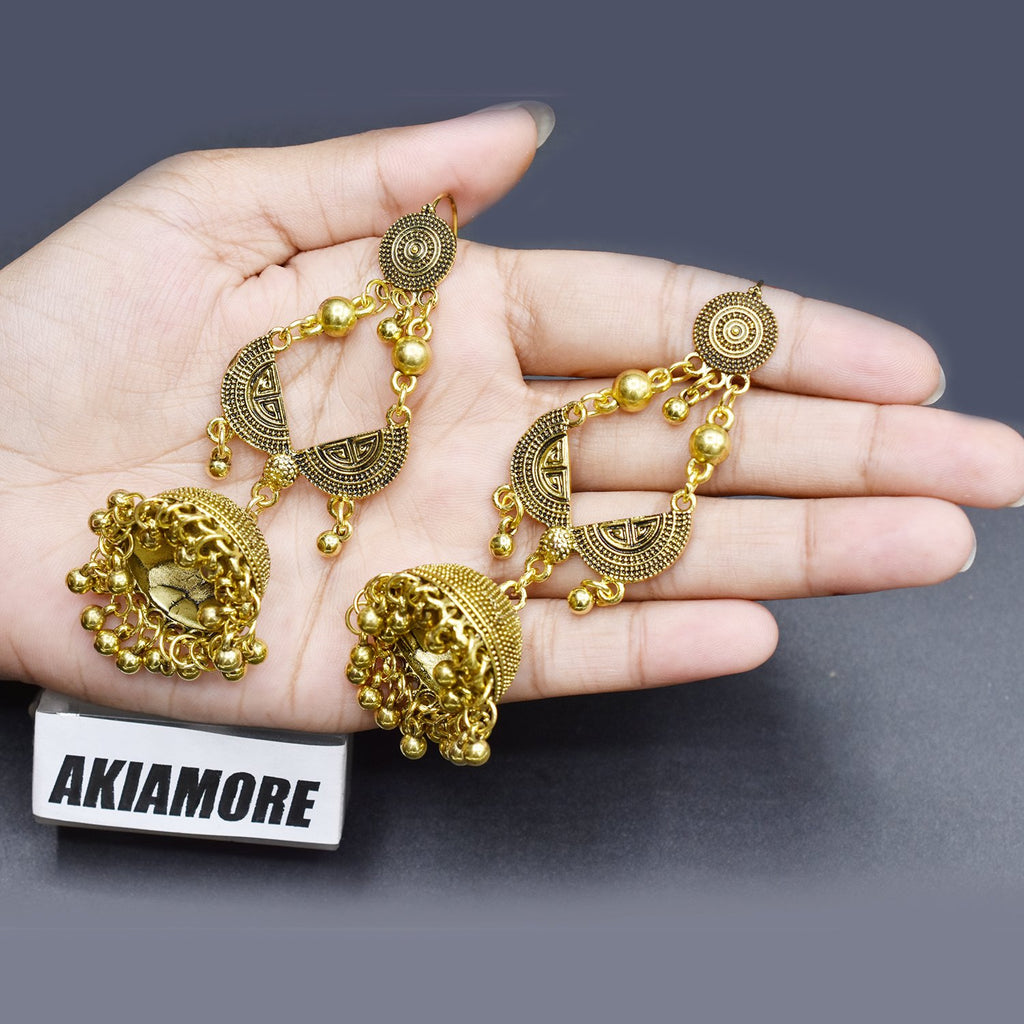 Indian Gold Jhumka Earrings for Women egfradb1g-2