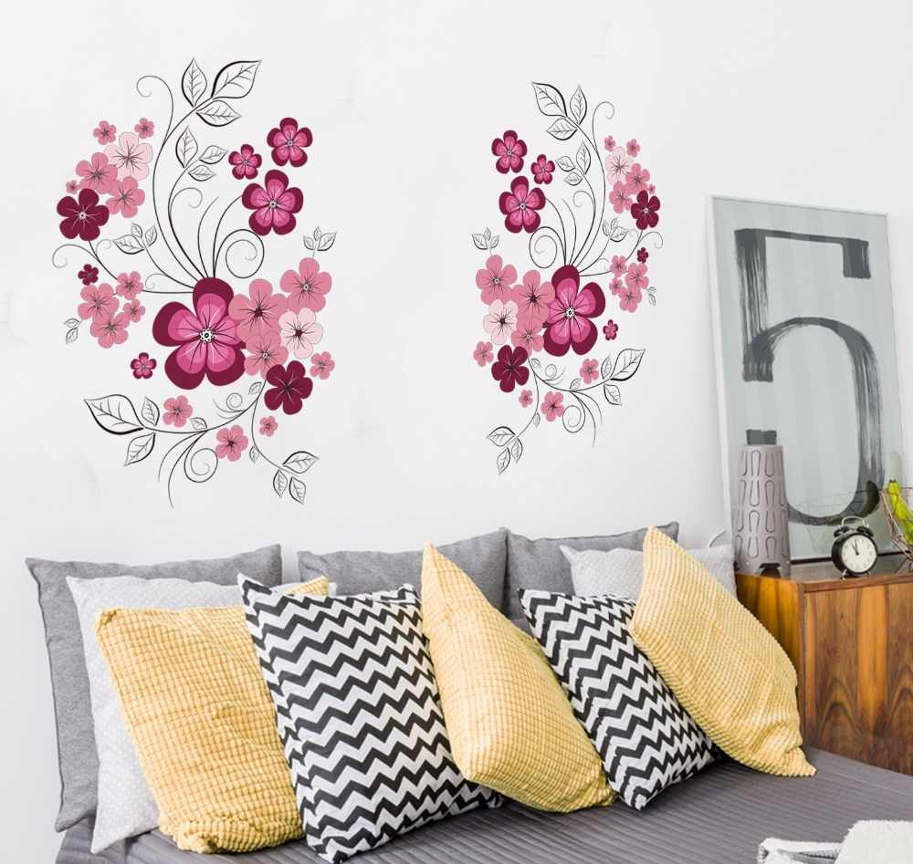 Removable Vinyl Wall Stickers Flowers Living Room TV/Sofa Background Home Decoration Wall Decals 60*90cm JM7151