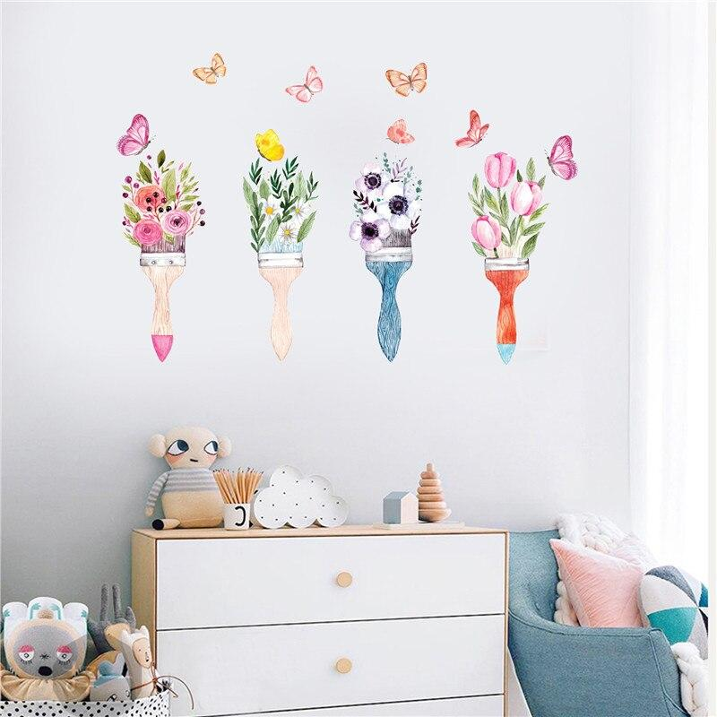JM7355 Butterfly Flower Bedroom Living Room Sofa Background Wall Sticker - Multi-A