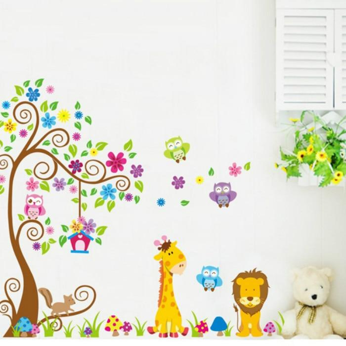 WALL STICKER JM7251ab  wallsticker 2x60x90 wallstiker trans JM7251-GIRAFFE LION TREE