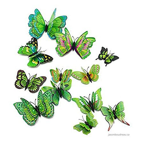 12 Pcs Butterfly dubble lear  Wall Stickers Decoration Magnet Butterflies on the wall DIY Wallpaper 3D PVC
