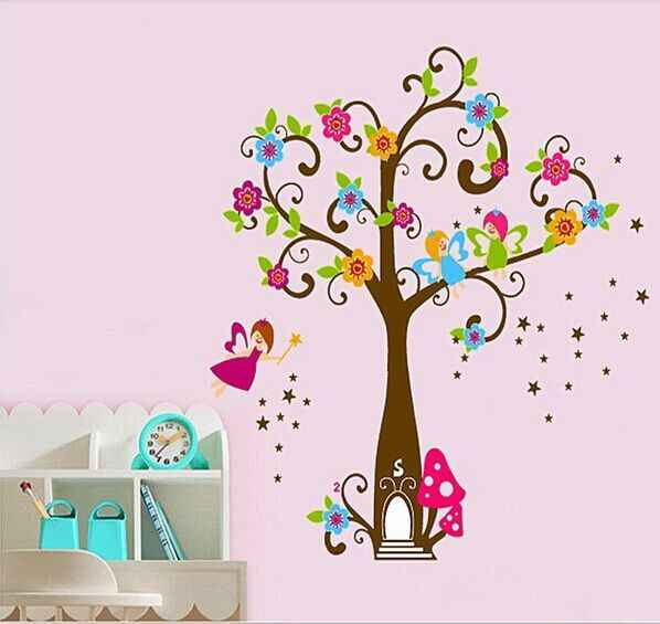 Tree Very Cute Peel Scroll Tinkle Fairy Girl DIY Removable Wall Stickers Parlor Kids Bedroom Home Decor Mural Decal JM7158
