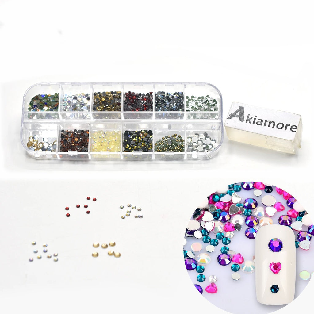 Rhinestones Nail Decoration Round Colorful Glitters With Hard Case DIY Nail Art Decorations ntfrmir2e-1