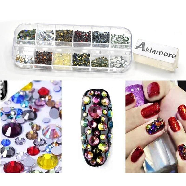 Rhinestones Nail Decoration Round Colorful Glitters With Hard Case DIY Nail Art Decorations