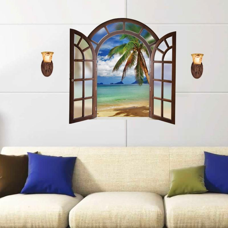 3D Wall Sticker SK9062B Fake Window Blue Sea View European Style Bedroom Living Room Entrance Decoration Self-adhesive Wall Sticker