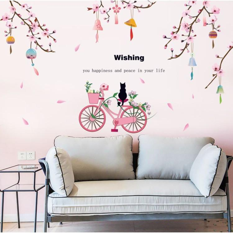 SK9357 Peach Flower Bicycle Wall Sticker - Multi