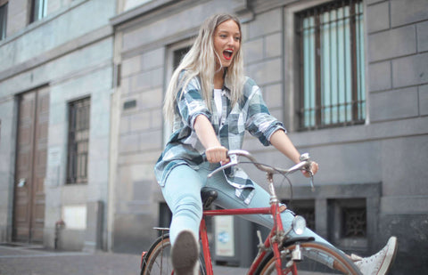 Happy girl on bike | Bike Saddlebag