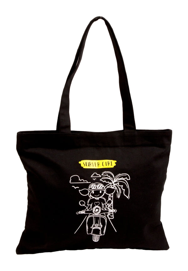 Hello Summer Black Tote Bag