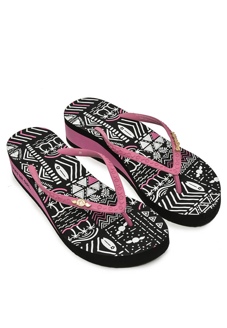 Sunset Pattern Heels Sandal Black