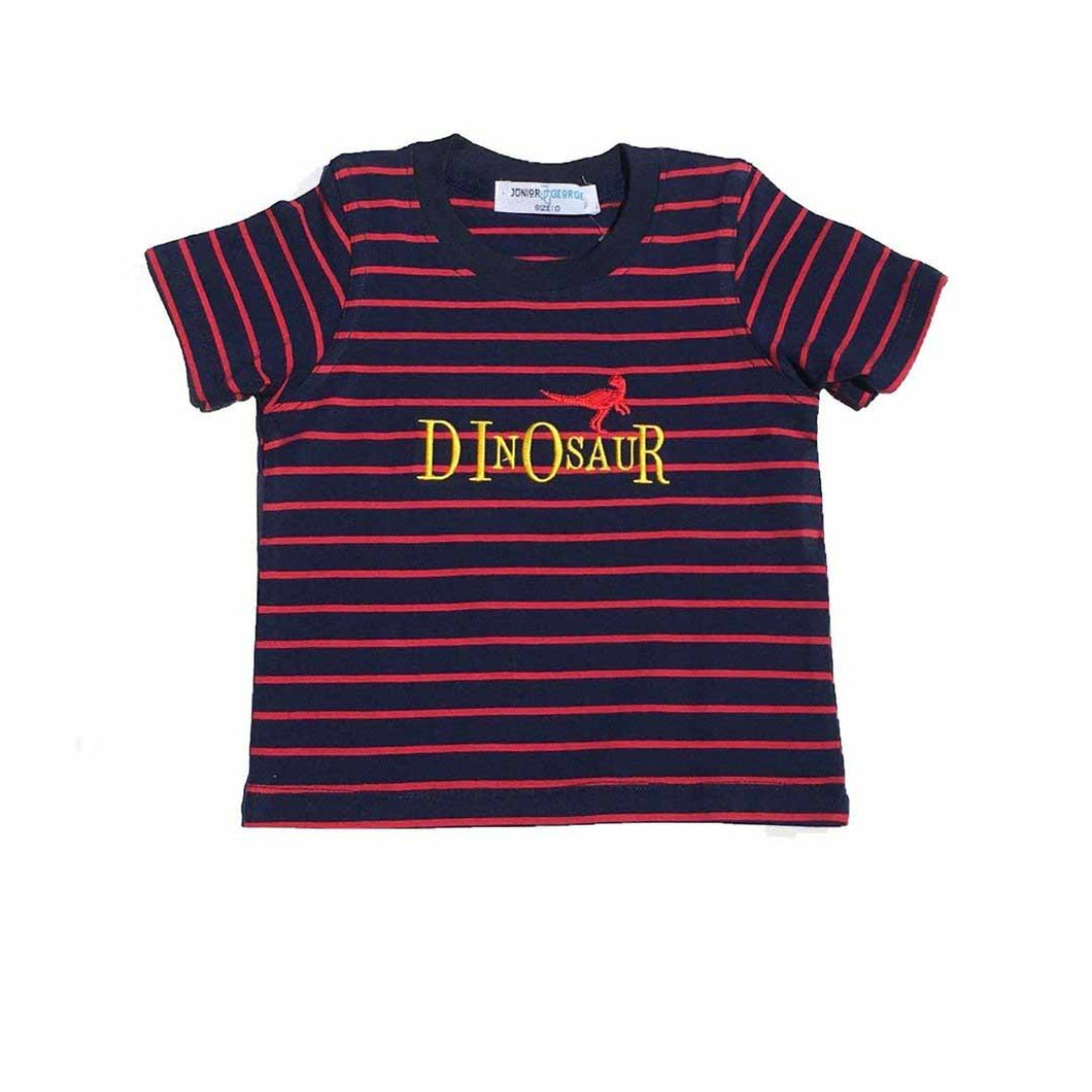 Crewneck - Dinosaur (Navy Blue and Red Stripe)