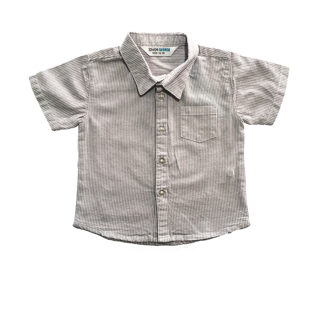 Shirt - Boy's Shirt (Grey  And White Stripe)