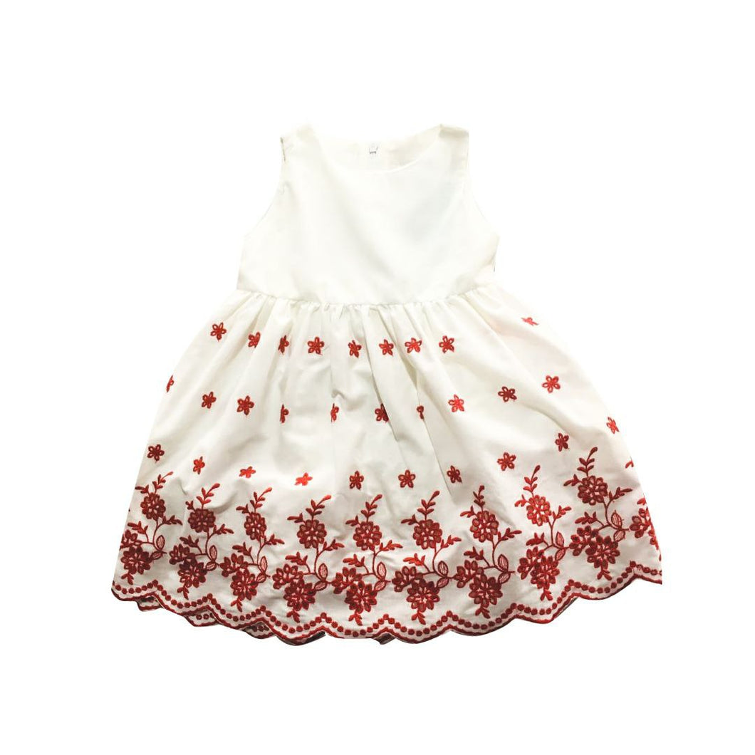 Dress - (White ,Red Flowers)