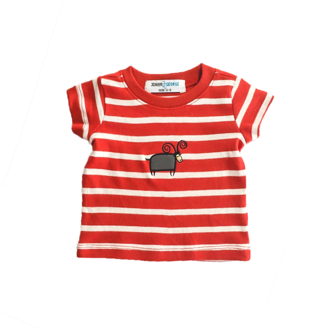 Crewneck - Infant T-shirts (Red, White Stripe)