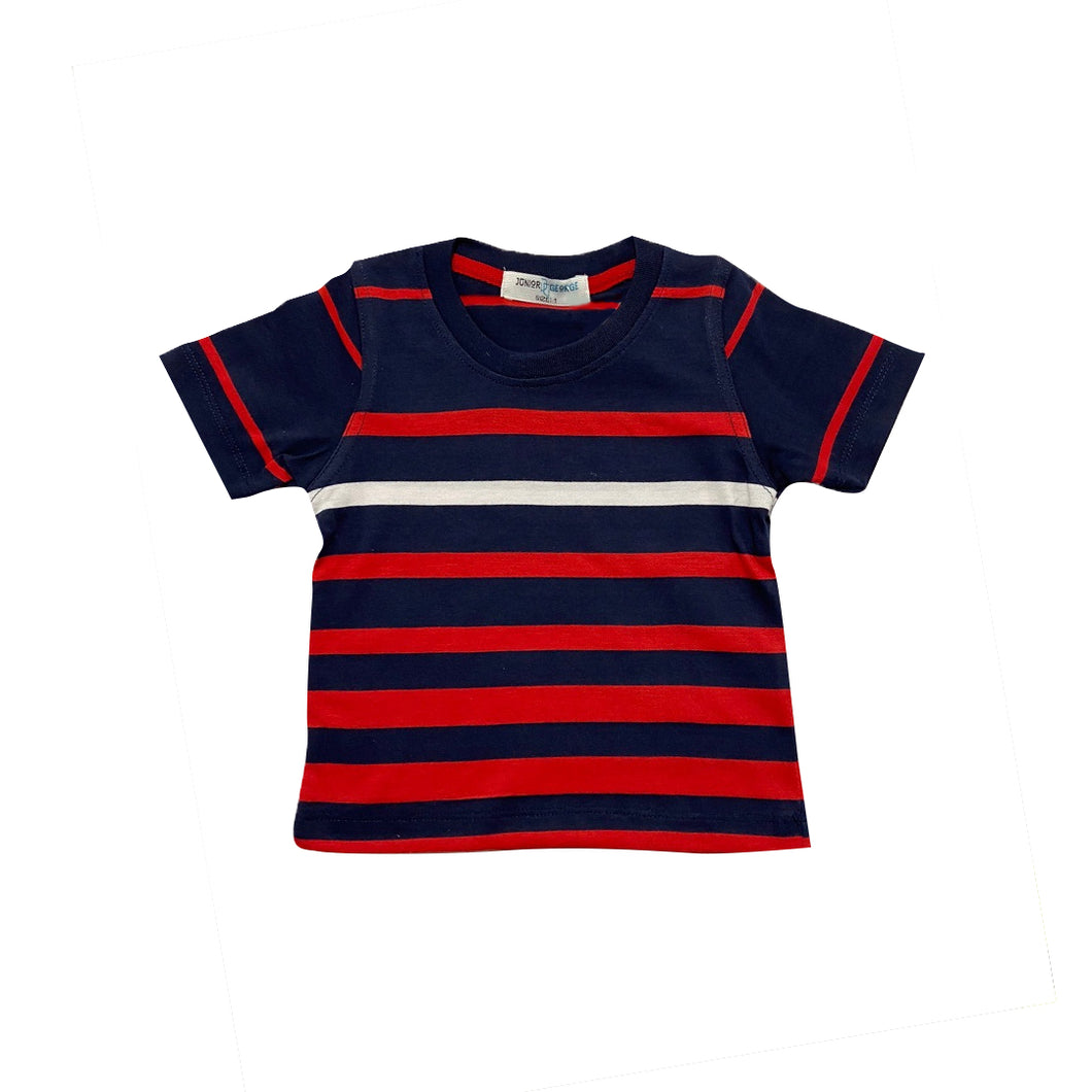 Crewneck - (Navy Blue, Red, White Stripe)
