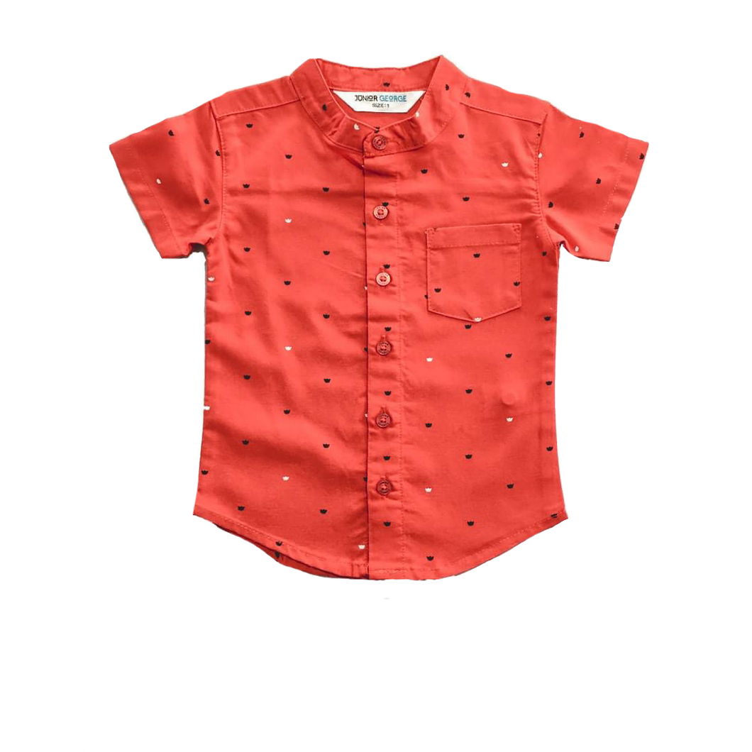 Shirt - Chinese Collar Shirt ( Red With Crown )