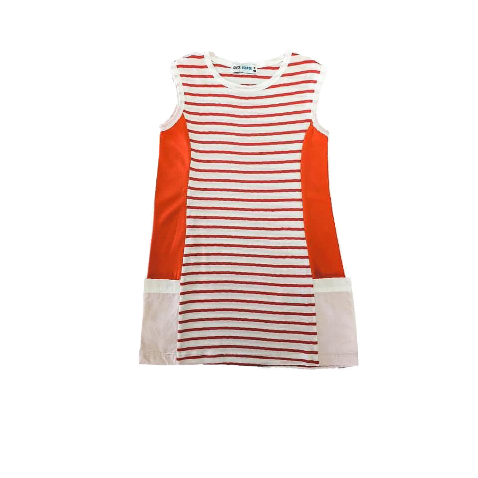 Dress -  (Orange And White Stripe)
