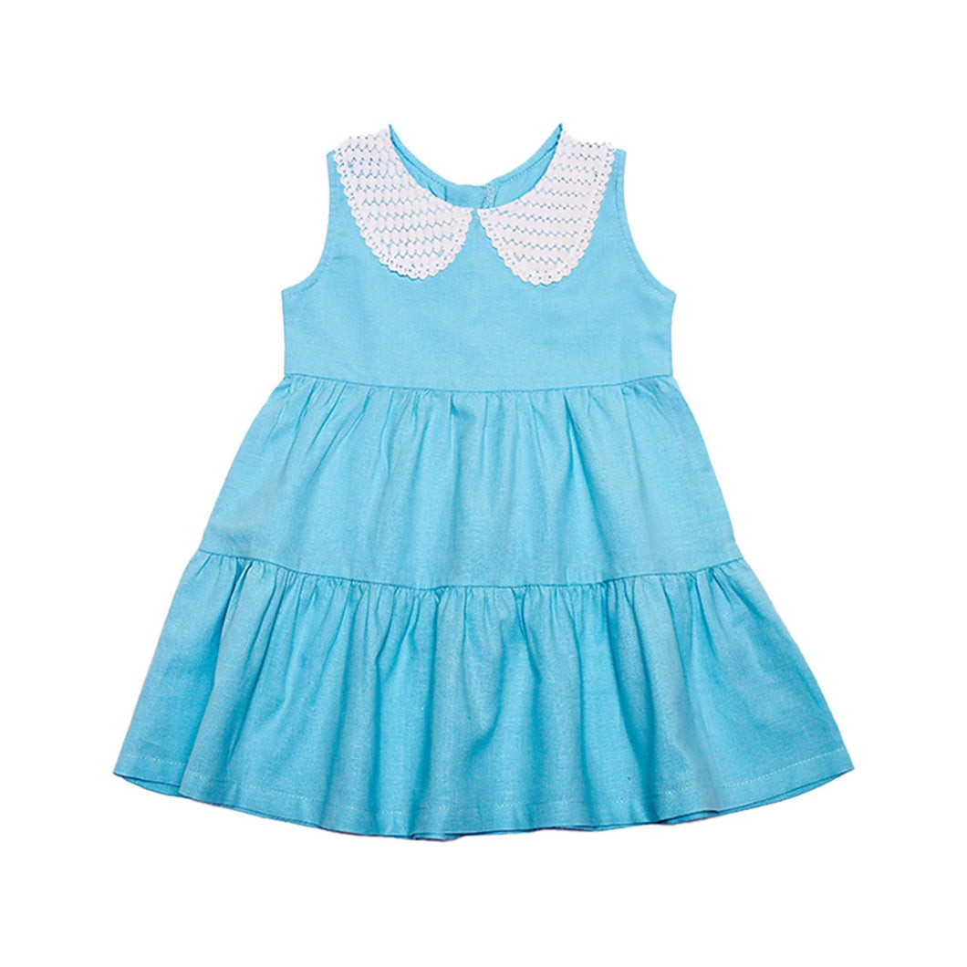 Dress - Lace Collar (Blue)