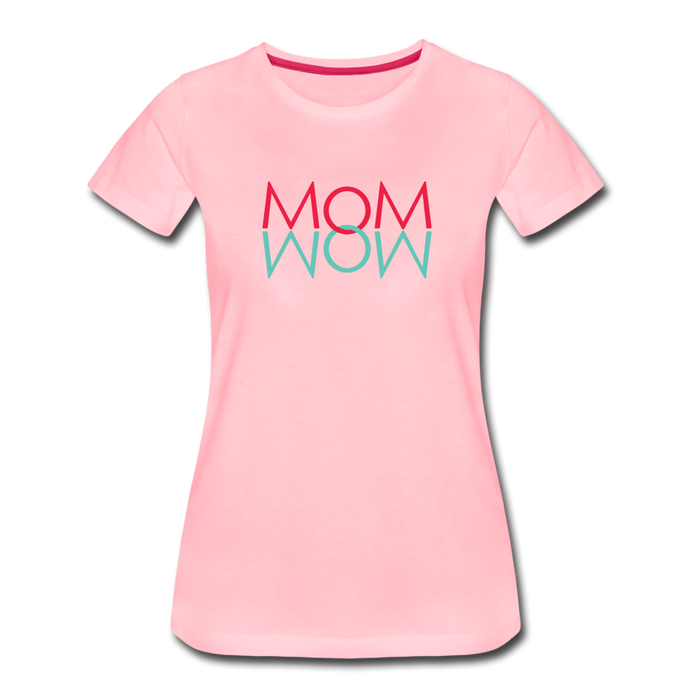 Mom Wow (Amaranth & Aquamarine) Women's Premium T-Shirt - Digital Crayons