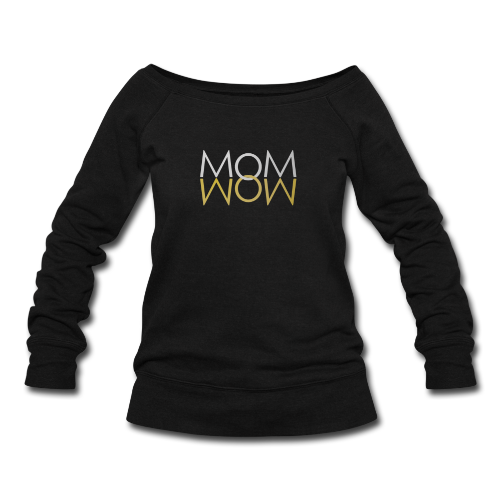 Mom Wow (Silver & Gold) Women's Wideneck Sweatshirt - Digital Crayons